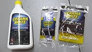 Cerama Bryte Ceramic Cooktop Cleaner (28 oz), Scraper and 5 Cleaning Pads Combo Kit