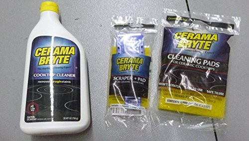 Cerama Bryte Ceramic Cooktop Cleaner (28 oz), Scraper and 5 Cleaning Pads Combo -