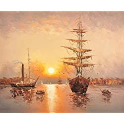 'Wall Seascape With Sailing Ships And Sea Gulls' Oil Painting, 20x24 Inch / 51x62 Cm ,printed On Perfect Effect Canvas ,this Beautiful Art Decorative Canvas Prints Is Perfectly Suitalbe For Hallway Decoration And Home Gallery Art And Gifts