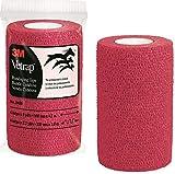 3M Vetrap Bulk 4'' Bold Color Bandaging Tape, 4''x 5 Yards (Red, 100 Rolls)
