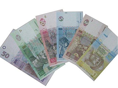 National Banknotes (Set of 6 modern circulated Ukrainian banknotes, hryvnias)