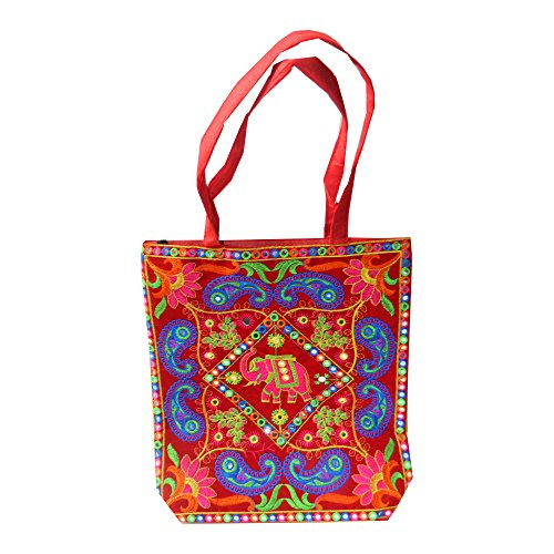 Borsa indiana di cotone colorato ricamato elefante reale, paisley e specchietti accessori moda