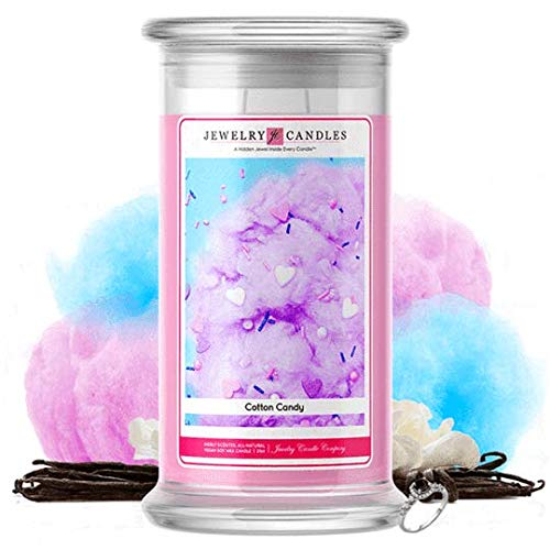 Jewelry Candles | Jewelry Valued at $15 - $7,500 | Large Long-Lasting 21oz Jar All Natural Soy Candle | Hand Poured Made in The USA Family Owned (Ring (Size 7) (Cotton Candy)