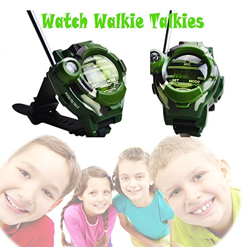 SOWOFA Kids' Watch Wireless Walkie Talkie Camo Military Walky-Talky Long Range Radios Call 3+ Mile Outdoor Activities Living Experience for Boys Girls Gifts (Walky Talky Watch)
