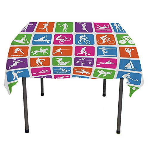 Olympics Decorations Collection, Waterproof Tablecloths Collection with 36 Sport Icons Basketball Cycling Diving Mountain Bike Wrestling Image, for Kitchen Dinning Tabletop Decor, 60x60 Inch Green