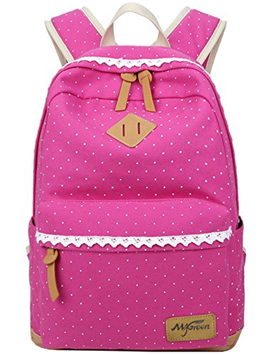 Mygreen Casual Dot 14 Inch Laptop Backpacks Kawaii Girls Canvas Portable School Backpack Rose Pink]()
