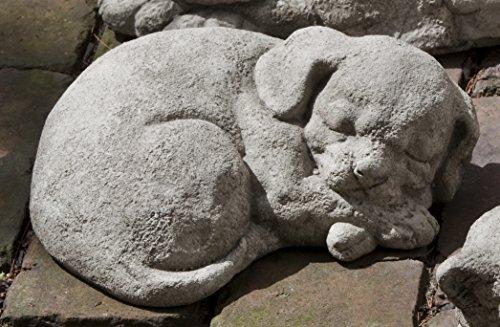 Campania International A-255-AS Curled Dog Statue, Small, Alpine Stone Finish