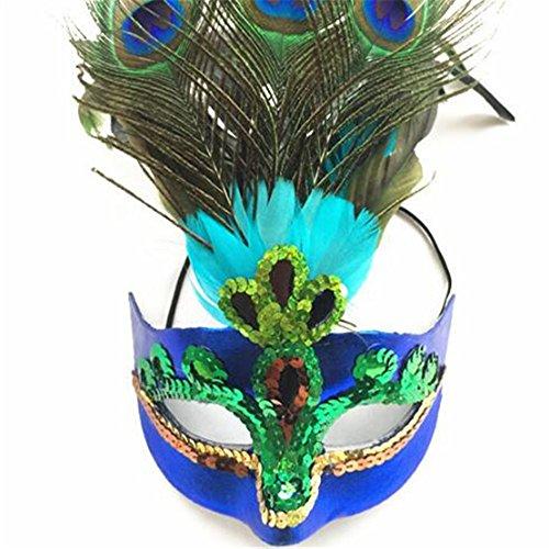 Sweenaly Women Peacock Feathers Mask Venetian Masquerade Mask Classic Masquerade Half Face Mask for Mardi Gras,Halloween (Peacock Mask Gras Mardi)