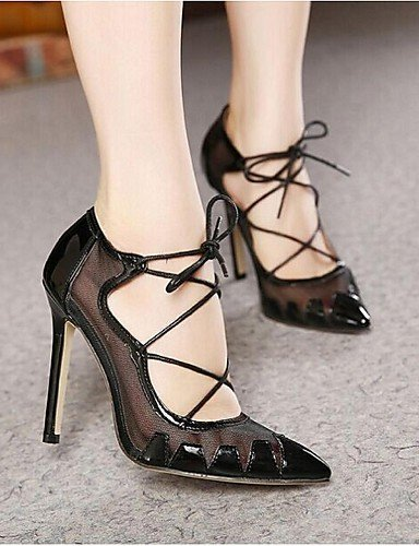 ShangYi Womens Shoes Stiletto Heel Heels / Pointed Toe Heels Outdoor / Dress / Casual Black / Beige Black