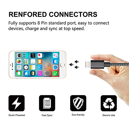 Onson Iphone Cable 3pack 6ft Nylon Braided Cord Lightning
