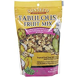 Sun Seed Company BSS59205 Fabulous Fruit Mix Parrot Treats Pouch, 12-Ounce