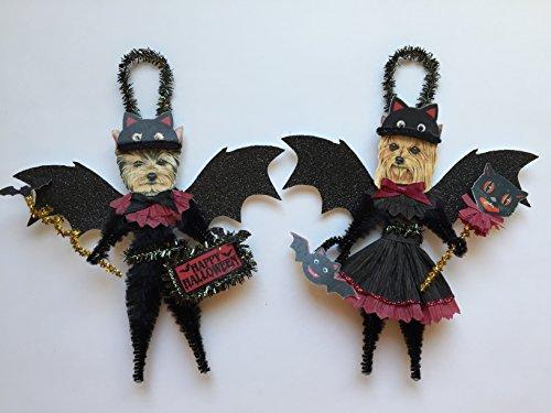 Yorkshire Terrier BAT Halloween ornaments DOG ornaments vintage style chenille ORNAMENTS set of 2