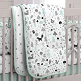 Carousel Designs Mint and Gray Baby Woodland Crib Comforter
