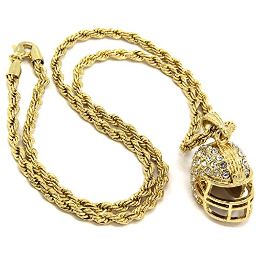 Football Medallion - Mens Gold Plated Hip-Hop Football Helmet Pendant 24