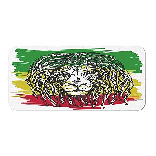 Rasta Wristband Mouse Pad,Ethiopian African Culture Hair Style Lion Head Portrait Grunge Backdrop Decorative for Home Desk Computer Desk,15.75''Wx23.62''Lx0.08''H ()