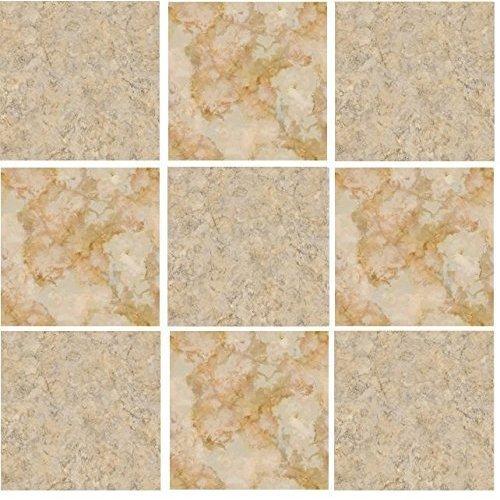Paquete de 10 pegatinas adhesivas para azulejo con efecto mosaico en color crema y marró n imitació n de piedra. Pegatinas auto adhesivas de tamañ o 14, 9 x 14, 9 cm.