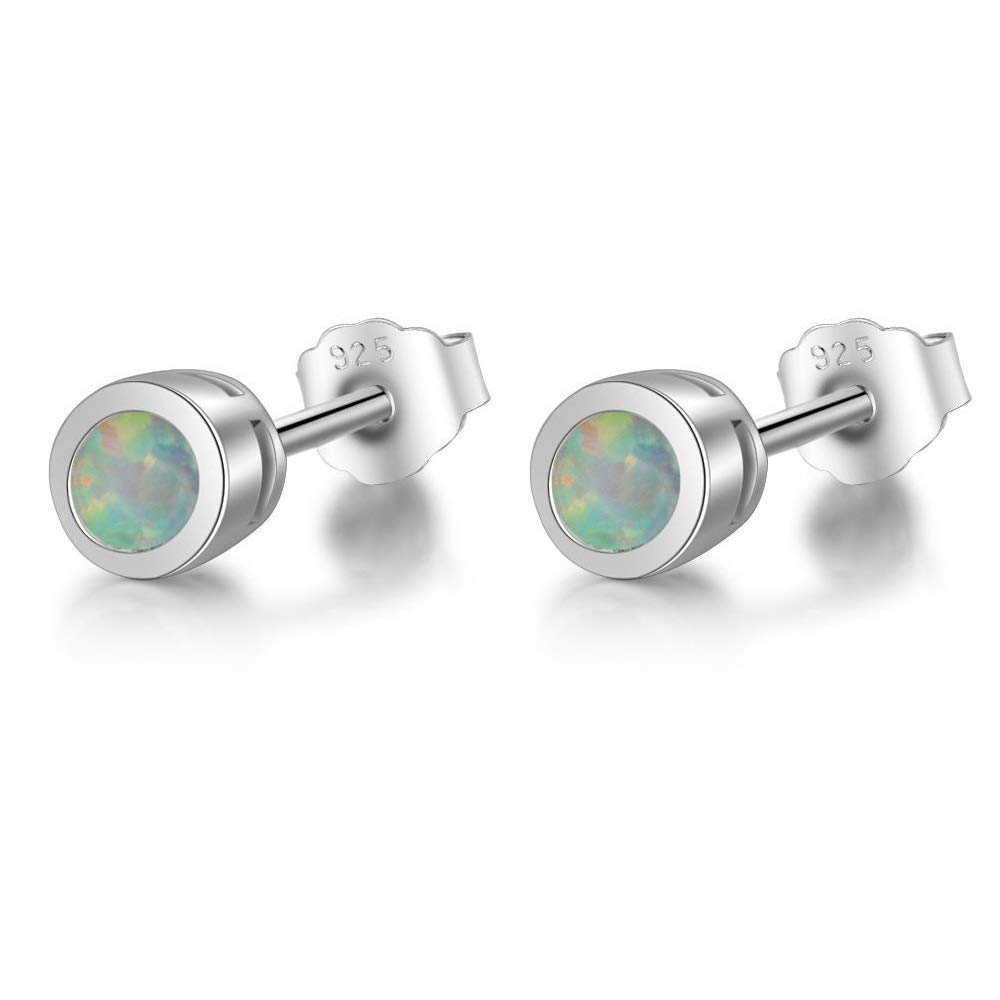Sterling Silver Synthetic White Opal Circle Stud Earrings Mini XS 4mm