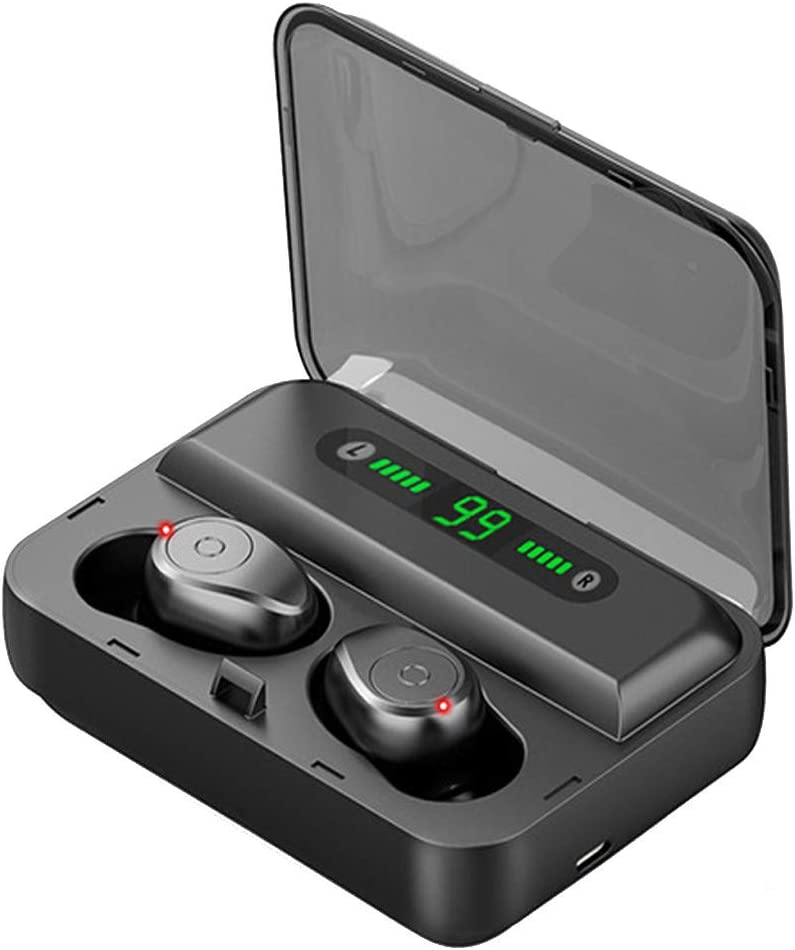 Bluetooth 5.0 Headphones, Wireless Bluetooth Earbuds Stereo Earphone Cordless Sport Headsets Bluetooth in-Ear Earphones with Built-in Mic Charging Case for Smart Phones (Black)