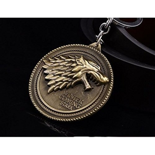 (OK-STORE Dire Wolf Logo Keychain Key Chain Winter Is Coming Key Ring for Collectors and Fans)