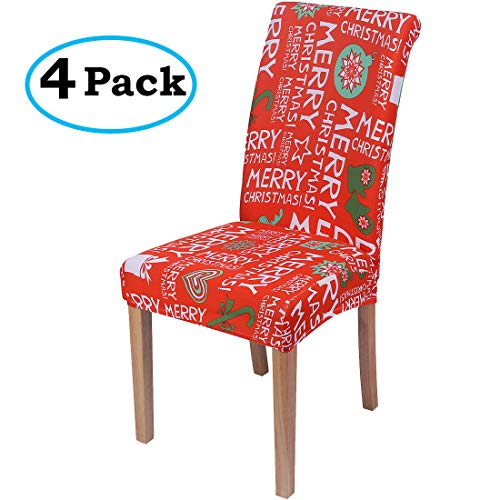 misaya Stretch Spandex Dining Room Chair Cover Removable Washable Chair Protector Flowers Painting Stool Seat Slipcover, Set of 4, Merry Christmas
