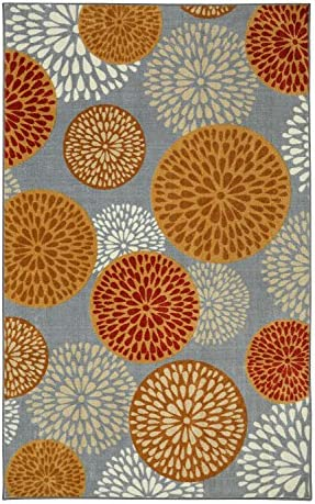 Mohawk Home Aurora Foliage Friends Warm Floral Medallions Printed Area Rug, 7 6×10 , Gray and Orange