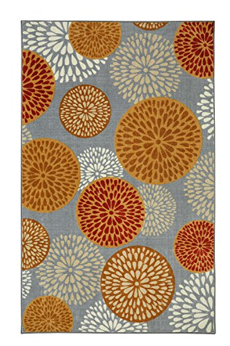 Mohawk Home Aurora Foliage Friends Warm Floral Medallions Printed Area Rug  76X10  Gray And Orange