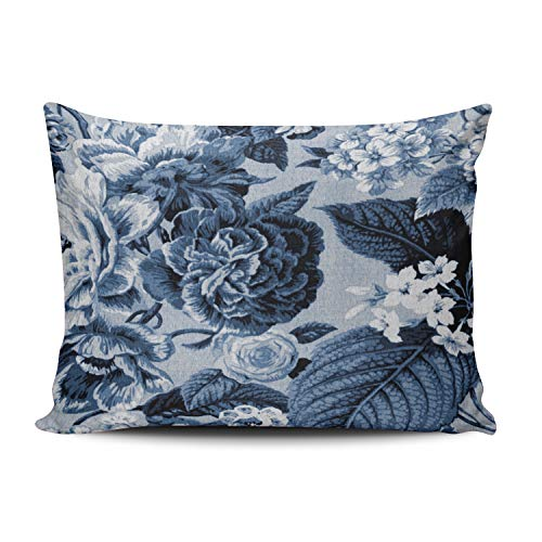 Fanaing Bedroom Custom Decor Indigo Blue Vintage Botanical Floral Toile Pillowcase Soft Zippered Throw Pillow Cover Cushion Case Fashion Design One-Side Printed Standard 20X26 (Blue Toile Canvas)