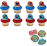 Avengers-Mightiest Hero Cupcake Toppers and Bonus Birthday Ring - 25 piece