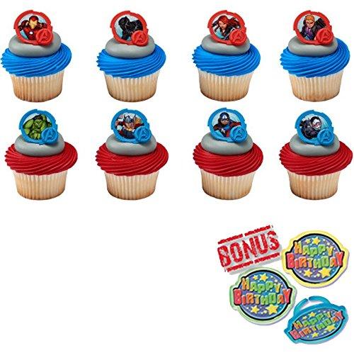 Avengers-Mightiest Hero Cupcake Toppers and Bonus Birthday Ring - 25 piece ()