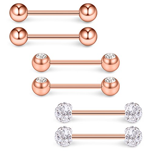 Ruifan 16G 9/16Inch Crystal & Jeweled CZ Ball Nipple Tongue Shield Ring & Stainless Steel Straight Barbell Body Piercing Jewelry Retainer 6PCS - Rose Gold