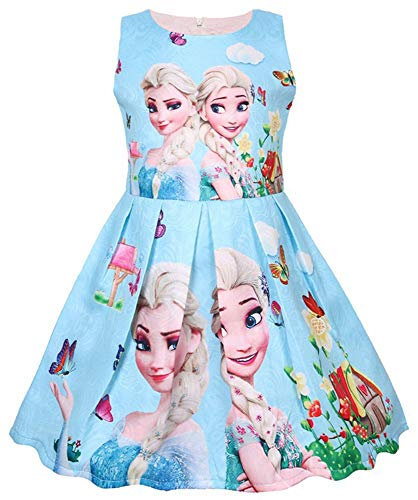 WNQY Princess Elsa Role Play Costume Party Dress Little Girls Cosplay Dress up (Blue,110/3-4Y) (Play Dress Role)