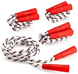 Kicko Jump Rope Nylon with Plastic Handles - 6.5 Feet - 4 Pack - White Jumping Rope with Red Stripes and Handles - for Kids and Adults - Sports, Outdoors, Fitness, Exercise, Fun, Play, Toy