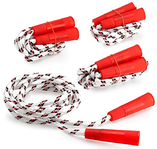Jump Rope Nylon With Plastic Handles 6.5 Inches – 4 Pack - White Jumping Rope With Red Stripes And Handles – For Kids And Adults - Sports, Outdoors, Fitness, Exercise, Fun, Play, Toy – By Kidsco