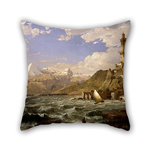Jasper Patio Chair (16 X 16 Inches / 40 by 40 cm Oil Painting Jasper Francis Cropsey - The Coast of Genoa Throw Cushion Covers Double Sides Ornament and Gift to Home Family Lover Valentine Bedding Kids Girls)