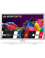LG 24TN510S- WZ 60 cm (24 inch) Smart TV Monitor LED HD (1366 x 768 16:9 DVB-T2/C/S2 WiFi Miracast 10W 2 x HDMI 1.4 1 x USB 2.0 optisch, LAN RJ45 VESA 75 x 75), wit