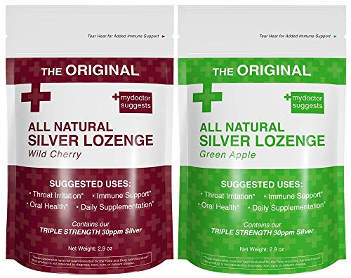 Organic Silver Lozenges - Wild Cherry and Green Apple (2-Pack) - The Perfect Cough Drop for Cough, Throat & Mouth Health - Contains 30ppm Silver Solution in Each Drop
