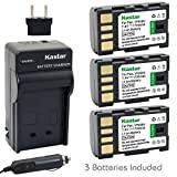 Kastar BN-VF808 Battery (3-Pack) and Charger Kit for JVC BN-VF808, BN-VF808U, BN-VF815, BN-VF815U, BN-VF823, BN-VF823U and JVC MiniDV, Everio GZ-MG130, 155, 255, GZ-MG555 and other specified camcorder