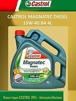 Aceite de motor Castrol Magnatec 10 W 40, 6 litros, SAE A3 B4, para mantenimiento, tanto para gasolina como diésel. 4 LITRI: Amazon.es: Coche y moto