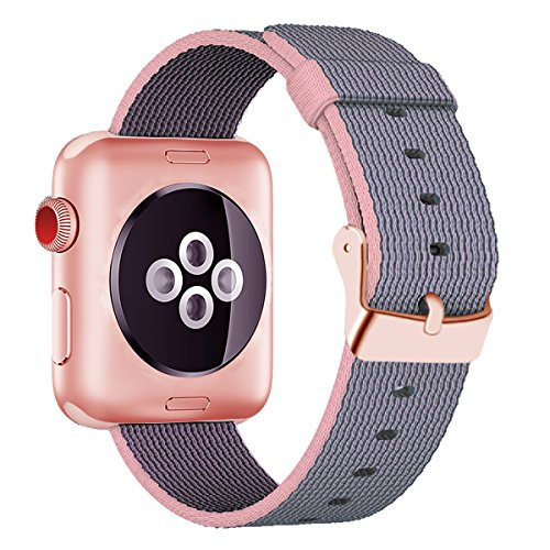 (INTENY Woven Nylon Fabric Wrist Strap Replacement Band with Classic Square Stainless Steel Buckle Compatible for Apple Watch iWatch Series 1/2/3,Sport & Edition,42mm,Lightpink and Midnightblue)