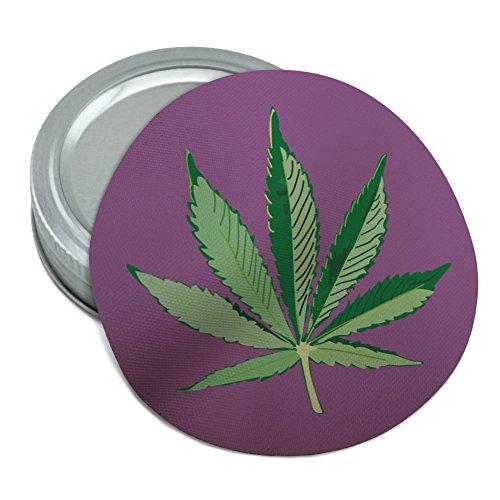 (Marijuana Pot Weed Leaf Bud Ganja Green Mary Jane on Purple Round Rubber Non-Slip Jar Gripper Lid Opener)