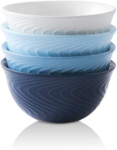 KOOV Porcelain Cereal Bowls, 26 Ounce Soup Bowl Set, Ceramic Bowl For Oatmeal, Snacks, Rice, Breakfast Bowls Spiral Series Set of 4 (Blue Set)