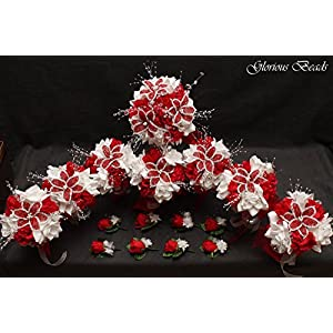 Red and White BEADED Flower Lily Wedding / Quincenarea Bouquet 16 PC Set with FREE Boutonnieres 80