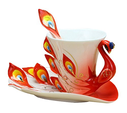 [niceeshop(TM) Hand Crafted China Enamel Porcelain Tea Mug Coffee Cup Set with Spoon and Saucer (Red)] (Porcelain China Cup)