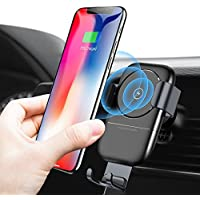 Humixx Fast Wireless Car Charger, Air Vent Phone Holder 2 in 1 Auto Lock Gravity Car Mount Qi Wireless Charging Holder for Samsung S9/S9+/S8/S8+ iPhone X