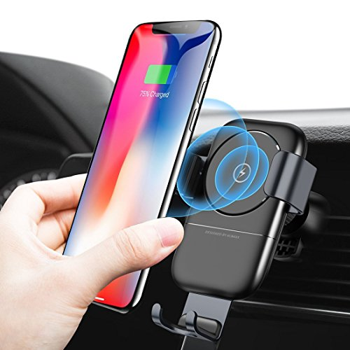 Humixx Fast Wireless Car Charger, Air Vent Phone Holder 2 in 1 Auto Lock Gravity Car Mount Qi Wireless Charging Holder for Samsung S9/S9+/S8/S8+ iPhone X/8/8 Plus and other QI Enabled Smartphones