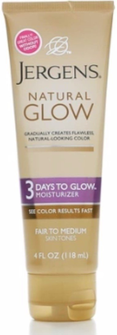 Jergens Natural Glow 3 Days to Glow Moisturizer, Fair to Medium 4 oz (Pack of 5)