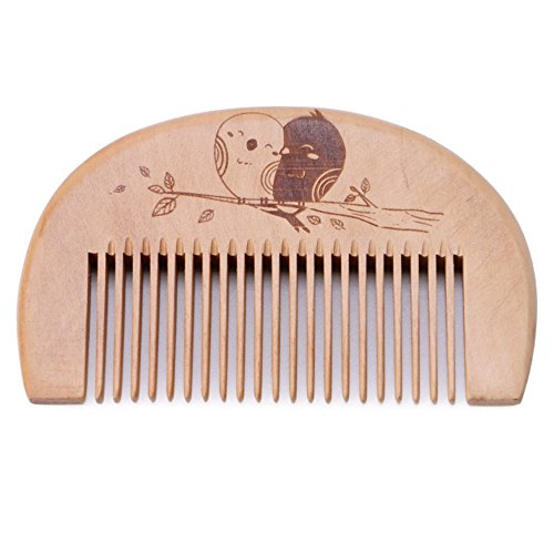 Walmeck Wooden Hair Comb Man's Beard Comb Anti-static Male Mini Facial Hair Beard Comb Wood Massage Comb
