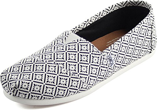 TOMS Women's Seasonal Classics White/Black Canvas Vintage Tile Loafer 7.5 B (M) (Shoes Vintage White)