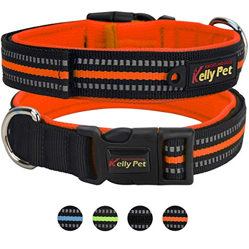Adjustable Dog Collar with Sponge Padded, 3M Reflective Breathable Nylon & Soft Pet Collars for Small, Medium and Large Dogs