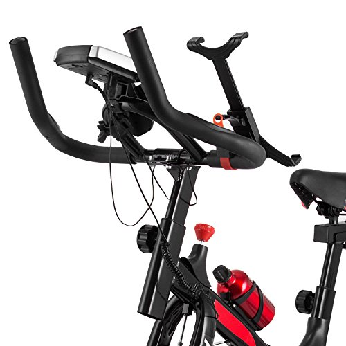 Mophorn Exercise Bike Cadio Health Indoor Cycle Bicycle LED Display Indoor Stationary Bike with Phone Holder for Workout Fitness (010 with phone holder)